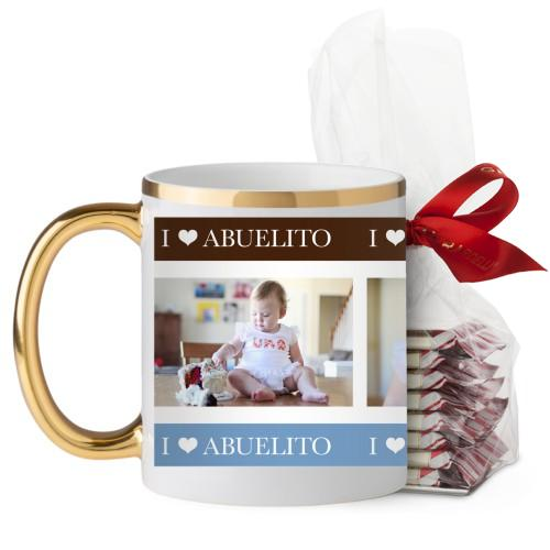 Yo Amo Mug, Gold Handle, with Ghirardelli Peppermint Bark, 11 oz, White