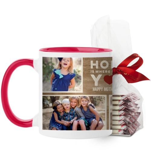 Home Is With You Mug, Red, with Ghirardelli Peppermint Bark, 11 oz, Brown