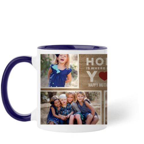 Home Is With You Mug, Blue,  , 11 oz, Brown