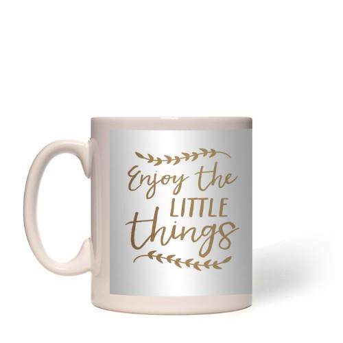 Embellished Outlined Frame Enjoy Mug, White,  , 11 oz, goldfoil
