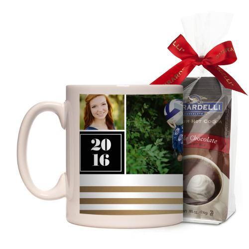 Graduate Striped Border Mug, White, with Ghirardelli Premium Hot Cocoa, 11 oz, goldfoil