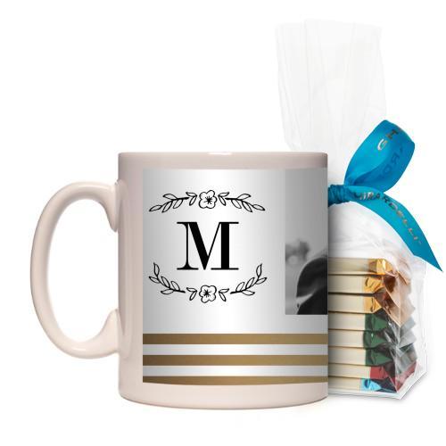 Flourish Striped Border Mug, White, with Ghirardelli Assorted Squares, 11 oz, goldfoil
