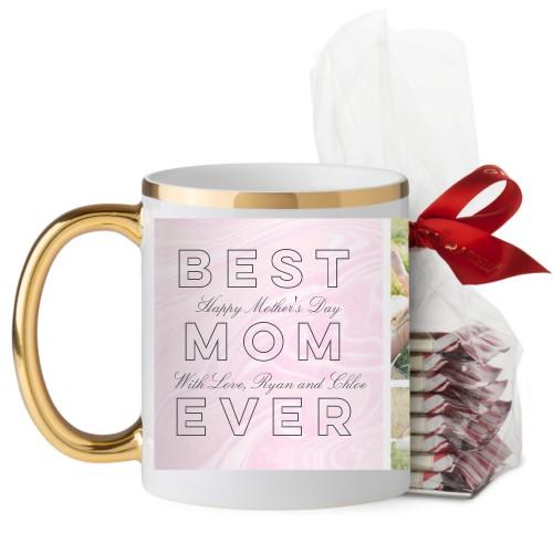 Best Mom Marbleized Mug, Gold Handle, with Ghirardelli Peppermint Bark, 11 oz, Pink