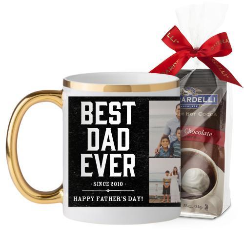 Best Dad Mug, Gold Handle, with Ghirardelli Premium Hot Cocoa, 11 oz, Black