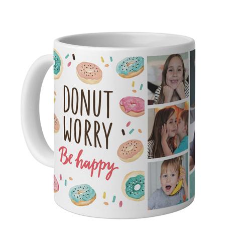 Donut Worry Be Happy Mug, White,  , 11 oz, White