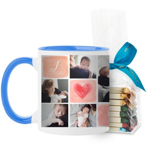 I Love Watercolor Mug, Light Blue, with Ghirardelli Assorted Squares, 11 oz, Pink