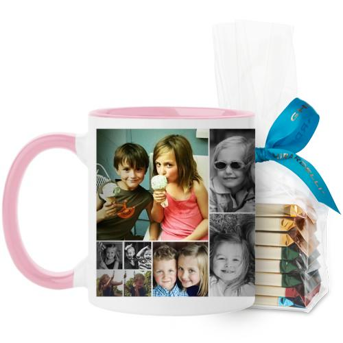 Collage Squares Mug, Pink, with Ghirardelli Assorted Squares, 11 oz, White