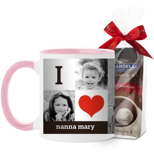 I Heart You Mug, Pink, with Ghirardelli Premium Hot Cocoa, 11 oz, Red