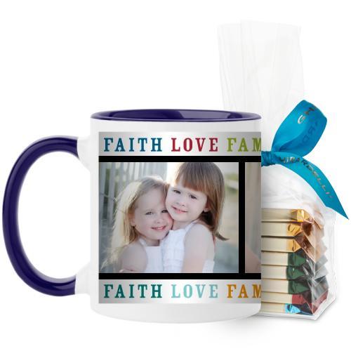Faith Love Family Mug, Blue, with Ghirardelli Assorted Squares, 11 oz, Multicolor