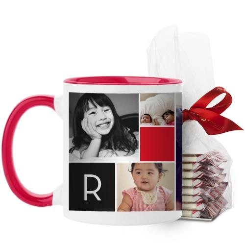 Monogram Memories Mug, Red, with Ghirardelli Peppermint Bark, 11 oz, Red
