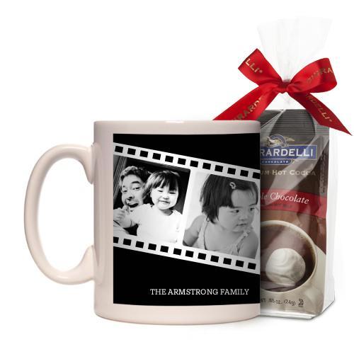 Filmstrip Fun Mug, White, with Ghirardelli Premium Hot Cocoa, 11 oz, Black