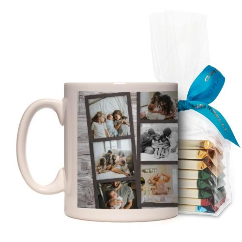 Family Filmstrips Mug, White, with Ghirardelli Assorted Squares, 11 oz, Brown