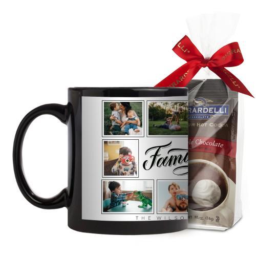 Family Script Mug, Black, with Ghirardelli Premium Hot Cocoa, 11oz, Black