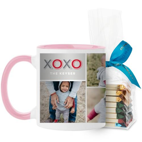 XOXO Collage Mug, Pink, with Ghirardelli Assorted Squares, 11 oz, Grey