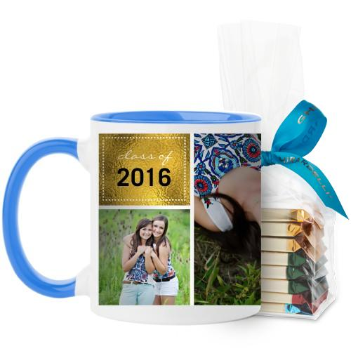 Shining Grad Mug, Light Blue, with Ghirardelli Assorted Squares, 11 oz, Black