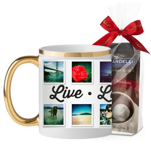 Live Laugh Love Mug, Gold Handle, with Ghirardelli Premium Hot Cocoa, 11 oz, White