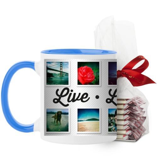 Live Laugh Love Mug, Light Blue, with Ghirardelli Peppermint Bark, 11 oz, White