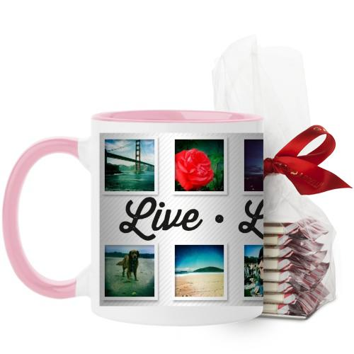 Live Laugh Love Mug, Pink, with Ghirardelli Peppermint Bark, 11 oz, White