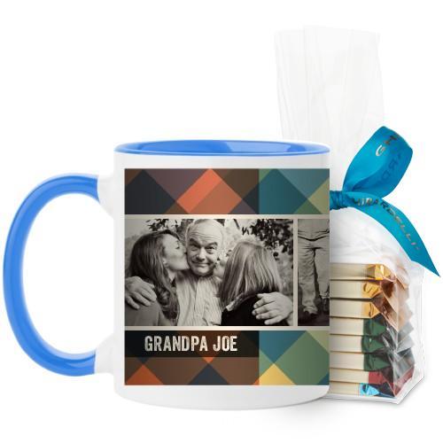 Simple Plaid Mug, Light Blue, with Ghirardelli Assorted Squares, 11oz, Multicolor