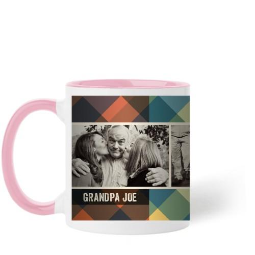Simple Plaid Mug, Pink,  , 11 oz, Multicolor