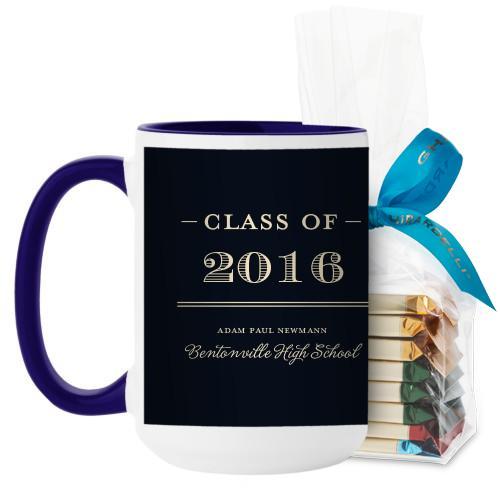 Graduation Masculine Mug, Blue, with Ghirardelli Assorted Squares, 15 oz, Black