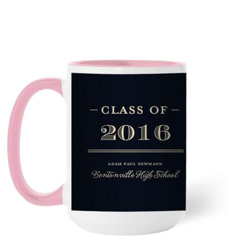 Graduation Masculine Mug, Pink,  , 15 oz, Black