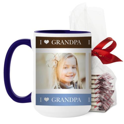 I Heart Grandpa Mug, Blue, with Ghirardelli Peppermint Bark, 15 oz, Brown