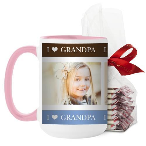 I Heart Grandpa Mug, Pink, with Ghirardelli Peppermint Bark, 15 oz, Brown