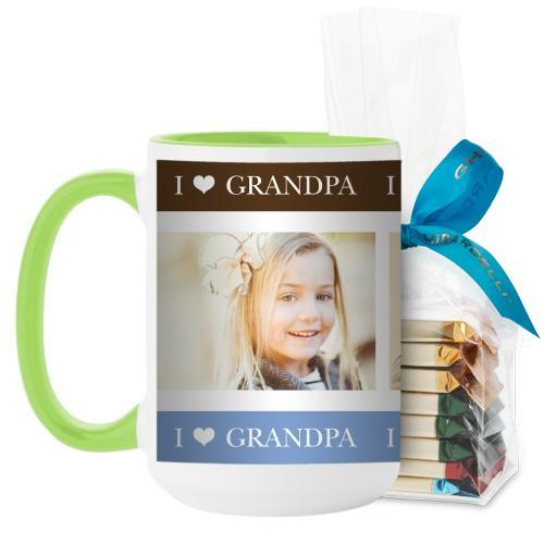 I Heart Grandpa Mug, Green, with Ghirardelli Assorted Squares, 15 oz, Brown