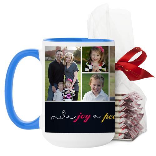 Joy Peace Love Family Mug, Light Blue, with Ghirardelli Peppermint Bark, 15 oz, Black