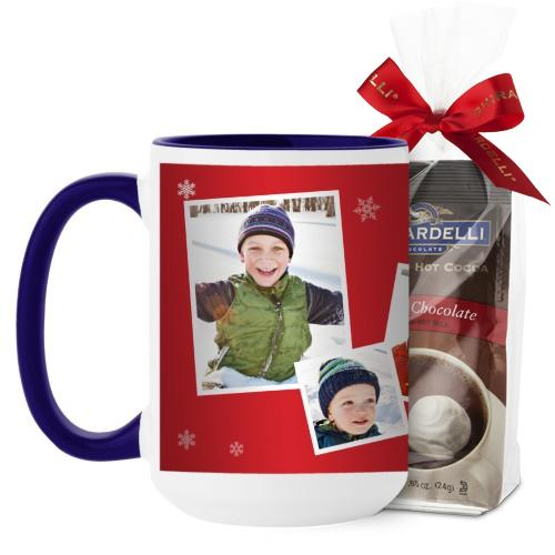 Snowflakes All Around Mug, Blue, with Ghirardelli Premium Hot Cocoa, 15 oz, Red