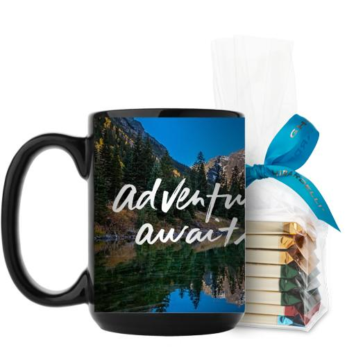 Adventure Awaits Mug, Black, with Ghirardelli Assorted Squares, 15 oz, White