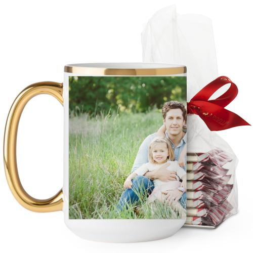 Photo Gallery Mug, Gold Handle, with Ghirardelli Peppermint Bark, 15 oz, Multicolor
