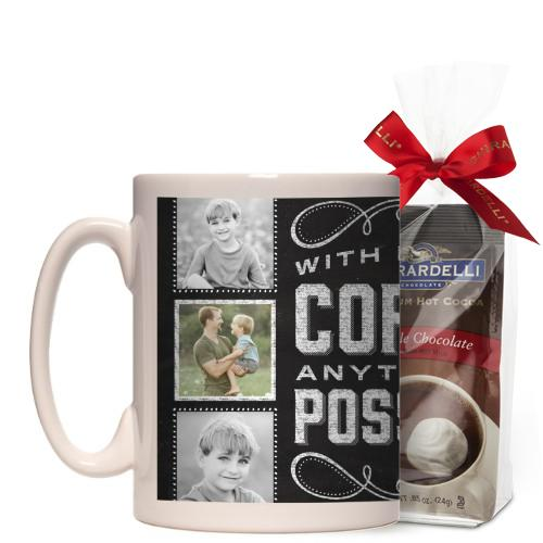Anything Is Possible Mug, White, with Ghirardelli Premium Hot Cocoa, 15 oz, Black