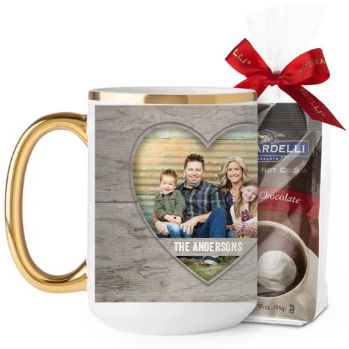 Wooden Hearts Mug, Gold Handle, with Ghirardelli Premium Hot Cocoa, 15 oz, Beige