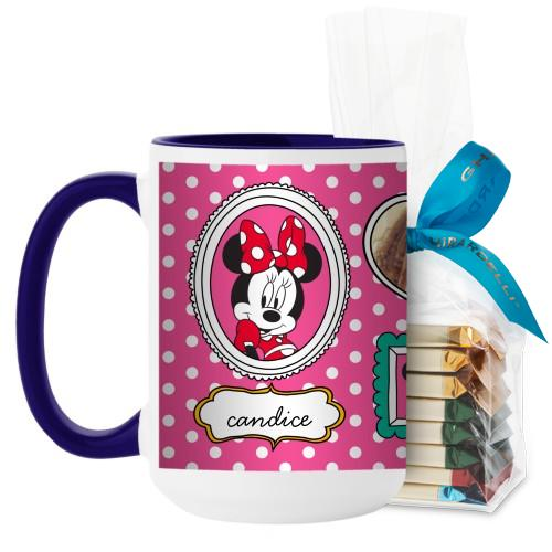 Disney Minnie And Friends Mug, Blue, with Ghirardelli Assorted Squares, 15 oz, Pink