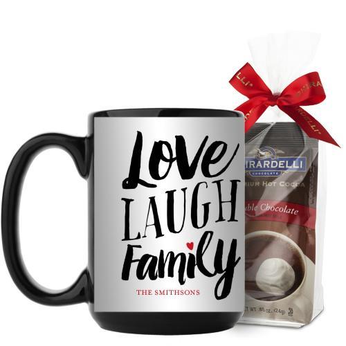 Love Laugh Family Mug, Black, with Ghirardelli Premium Hot Cocoa, 15 oz, Grey