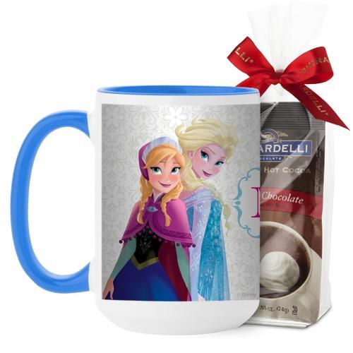 Disney Frozen Monogram Mug, Light Blue, with Ghirardelli Premium Hot Cocoa, 15 oz, White