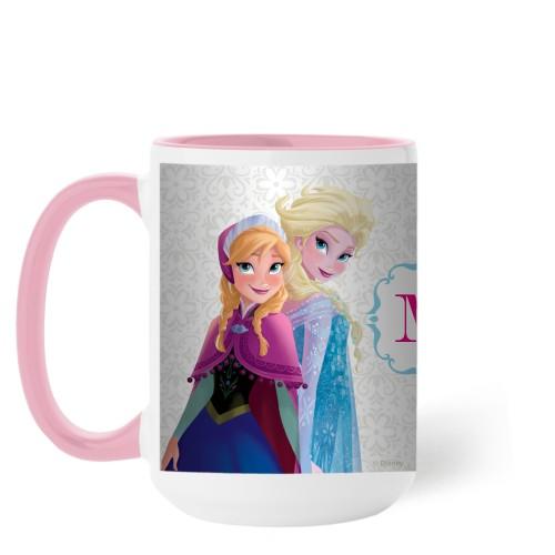 Disney Frozen Monogram Mug, Pink,  , 15 oz, White