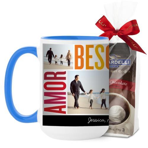 Amor Besos Familia Mug, Light Blue, with Ghirardelli Premium Hot Cocoa, 15 oz, Red