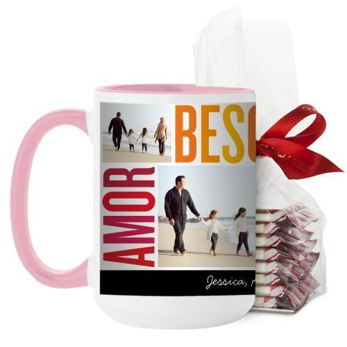 Amor Besos Familia Mug, Pink, with Ghirardelli Peppermint Bark, 15 oz, Red