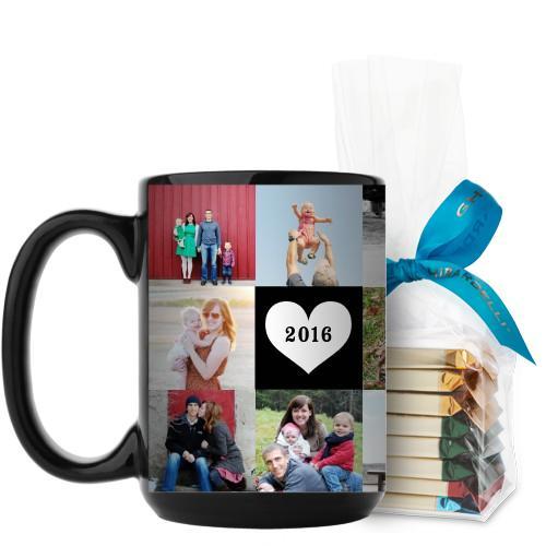Love Grid Mug, Black, with Ghirardelli Assorted Squares, 15oz, Black