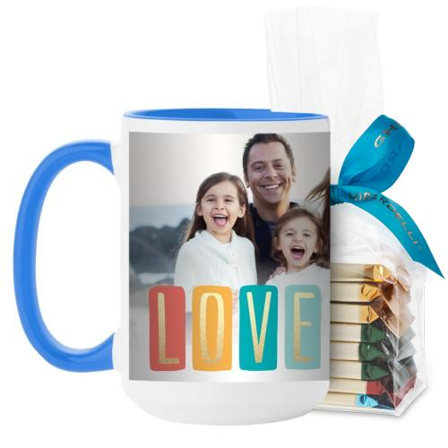 Colorful Love Mug, Light Blue, with Ghirardelli Assorted Squares, 15 oz, White