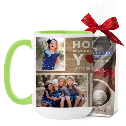 Home Is With You Mug, Green, with Ghirardelli Premium Hot Cocoa, 15 oz, Brown