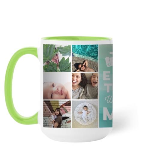 Ombre Grid Mug, Green,  , 15 oz, Green