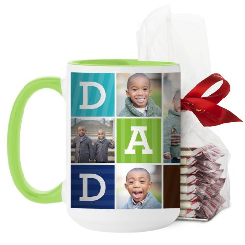 Dad Color Blocks Mug, Green, with Ghirardelli Peppermint Bark, 15 oz, Multicolor