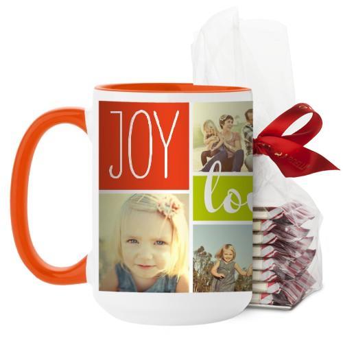 Joy Love Family Mug, Orange, with Ghirardelli Peppermint Bark, 15 oz, Multicolor
