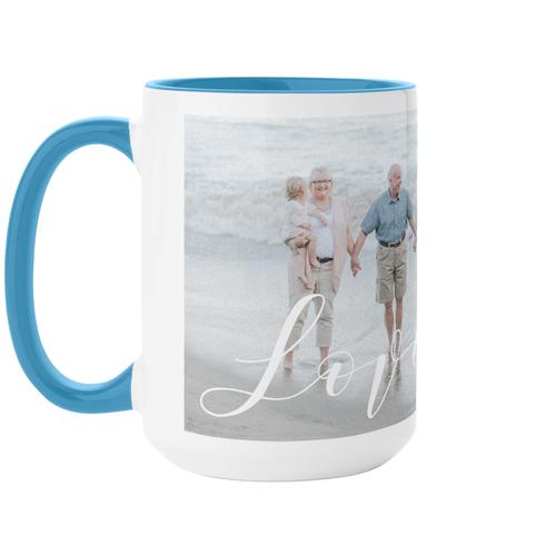 Love Brushed Mug, Light Blue,  , 15 oz, White