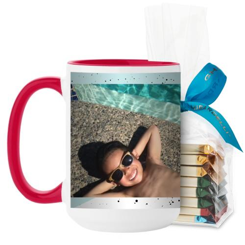 Splatters Mug, Red, with Ghirardelli Assorted Squares, 15 oz, Blue