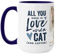 rustic love cat mug
